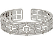 Judith Ripka Sterling Silver Cushion Diamonique Cuff Bracelet - J347840