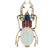 Joan Rivers Simulated Opal and Crystal Beetle Brooch - J349640