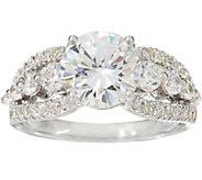 As Is Diamonique Triple Row Bridal Ring Sterling - J353640