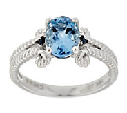 Santa Maria Aquamarine and Blue Diamond Rope Ring, 14K - J354040
