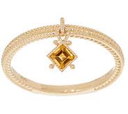 Judith Ripka 14K Gold Citrine Charm Ring - J355340