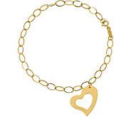 14K Oval Link with Heart Dangle Bracelet, 1.0g - J376640