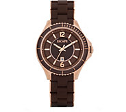 Escape Ladies Silicone Brown and Rosetone Watch - J377440