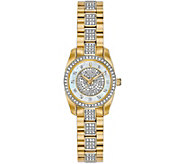 Bulova Womens Goldtone Swarovski Crystal Watch - J378540
