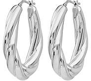 Italian Silver Oval Twisted Hoop Earrings, Sterling - J380140