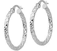 Italian Gold 1-3/8 Textured Round Hoop Earrings, 14K - J381740