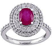 14K Gold 1.50 cttw Oval Ruby & Diamond Halo Ring - J382340