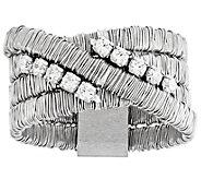 Italian Silver Mesh Crossover Flexible CrystalRing - J382740
