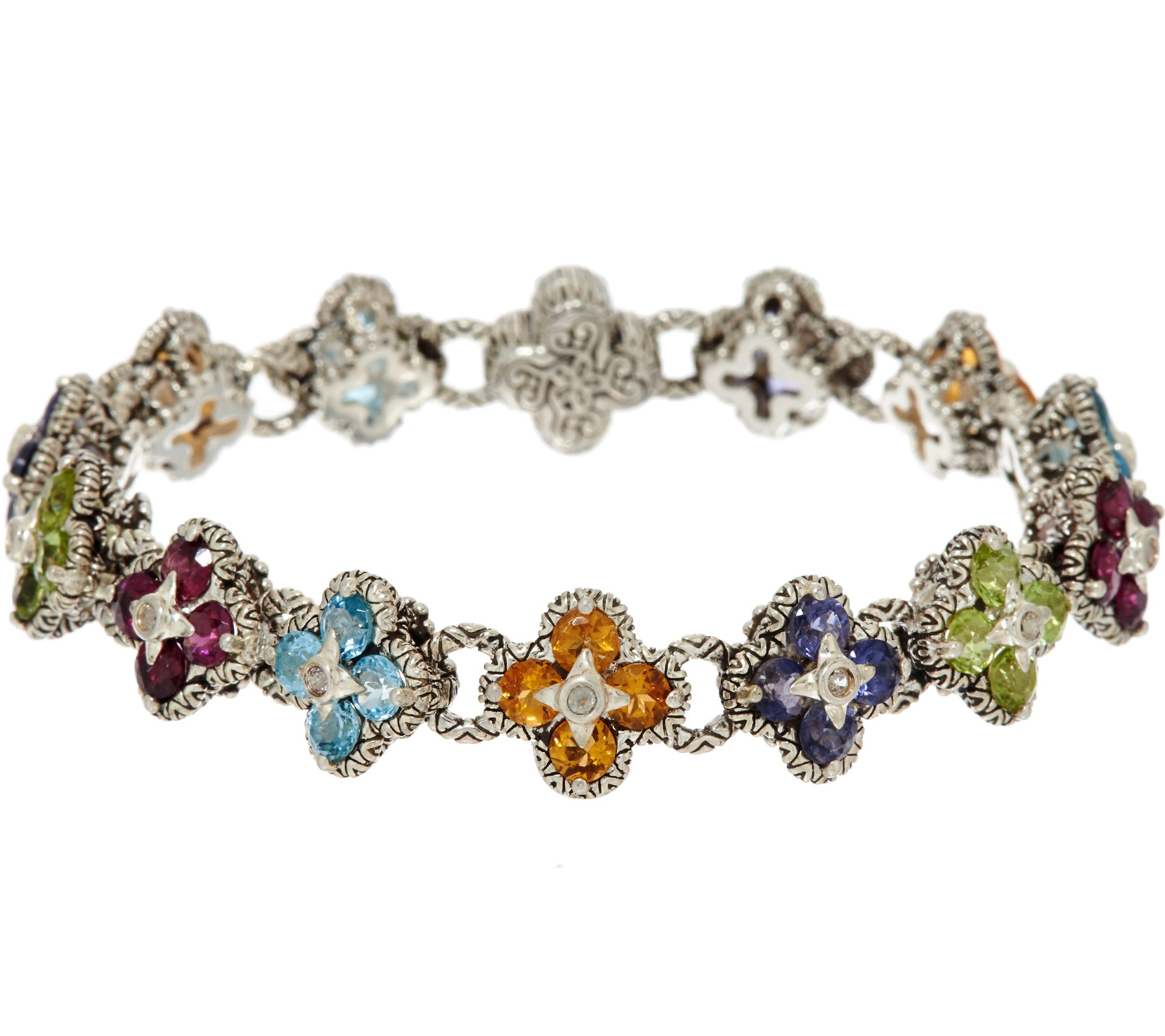 Barbara Bixby Sterling & 18K 7.30 cttw Gemstone Flower Bracelet