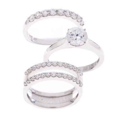 epiphany diamonique 245 ct tw 3 pc bridal ring set page 1 qvccom - Qvc Wedding Rings