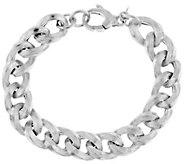 Italian Silver Sterling 7-1/4 Textured Curb Link Bracelet, 23.3g - J290941