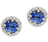 0.70 ct tw Ceylon Sapphire & Diamond Earrings, 14K - J296541