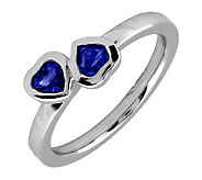 Simply Stacks Sterling & Created Sapphire Double-Heart Ring - J299341