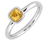 Simply Stacks Sterling & Cushion Cut Citrine Ring - J299441