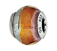 Prerogatives Sterling Pink & Orange Italian Murano Glass Bead - J300141