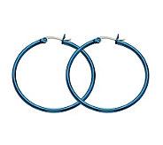 Stainless Steel Blue-Plated Hoop Earrings - J302241