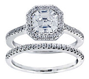 Diamonique 2.25 cttw 2 Piece Bridal Ring Set, Platinum Clad - J304141