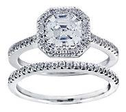 Diamonique 2.25 cttw 2 Piece Bridal Ring Set,Platinum Clad - J304141
