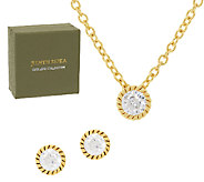Judith Ripka Sterling 14K Clad 118 Facet Diamonique Stud & Necklace Set - J318241