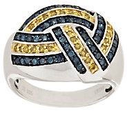 Yellow & Blue Woven Diamond Ring, Sterling, 1/2 cttw, by Affinity - J318441