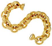 Oro Nuovo 7-1/4 Textured & Polished Rolo Bracelet, 14K - J319641