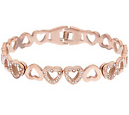 Stainless Steel Crystal Eternity Heart Cuff - J319741