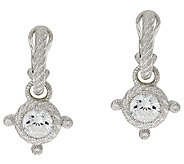 Judith Ripka 4.25 cttw Diamonique Hoop and Charm Earring - J320141