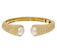 Judith Ripka Sterling & 14K Clad Mabe Pearl & Diamonique Hinged Cuff - J320341