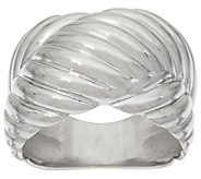 VicenzaSilver Sterling Ribbed X Design Ring - J320441