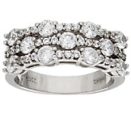 Diamonique Triple Row Band Ring, Platinum Clad - J321441