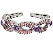 Judith Ripka Sterling Amethyst & Pave Cuff Bracelet - J324041