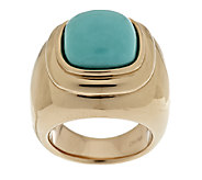 As Is Sleeping Beauty Turquoise Bold Polished Ring, 14K Gold - J325341