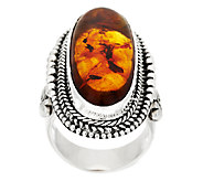 As Is Suarti Artisan Crafted Sterling Amber Elongated Beaded Ring - J327541