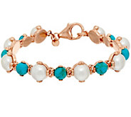 As Is Honora Cultured Pearl Turquoise Bronze Line Bracelet - J328341