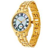 As Is Veronese 18K Clad Mother of Pearl Panther Link Watch - J329841