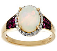 Ethiopian Opal and Precious Gemstone Ring 14K Gold 1.75 cttw - J330541