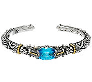 Barbara Bixby Sterling & 18K 5.50 cts Blue Topaz Cuff Bracelet - J331641