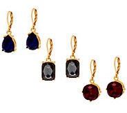Joan Rivers Set of 3 Fancy Cut Lever Back Earrings - J331941