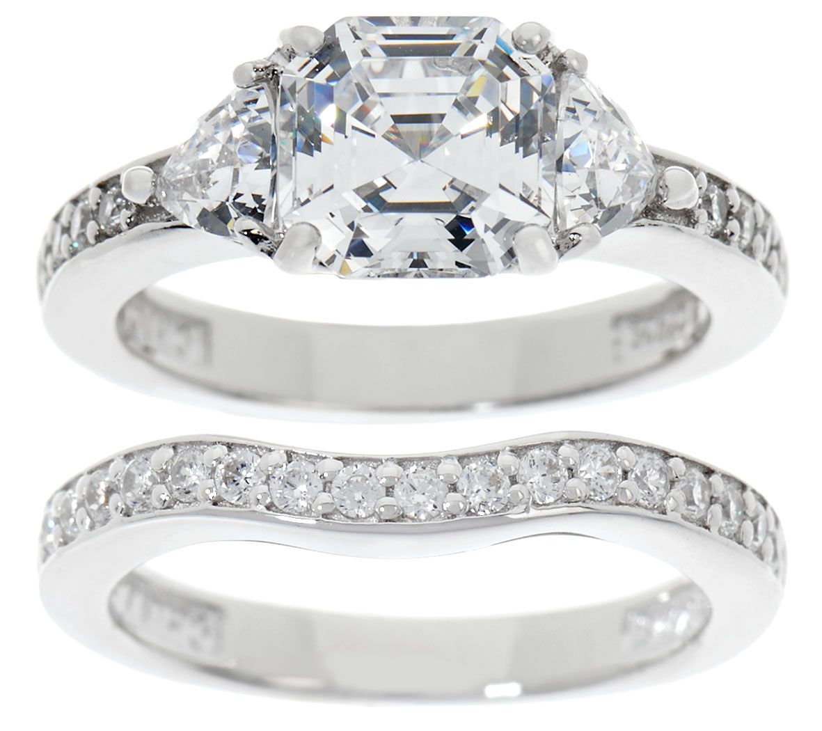 Diamonique 2 90 Cttw Asscher Bridal Ring Set Platinum