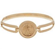 14K/22K Gold Small Liberty Coin Bangle Bracelet, 12.4g - J334641