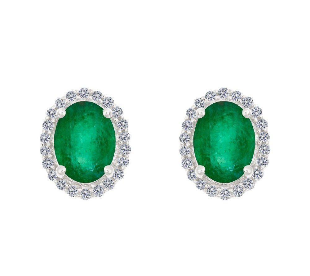 premier 8x6mm oval emerald stud earrings 14k