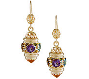 Arte dOro 9.50 cttw Multi-Gemstone Dangle Earrings, 18K - J337041