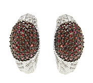 Judith Ripka Sterling Textured & Ruby Half J-Hoop Earrings - J338041