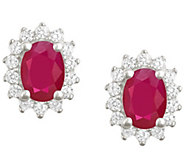 Premier 7x5mm Oval Ruby & Diamond Earrings, 14K - J338141