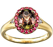 1.70cttw Andalusite & Orange Sapphire Halo Ring, 14K Gold - J338541