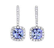3/4cttw Tanzanite & Diamond Accent Earrings, Sterling - J338641