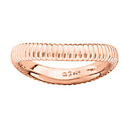 Simply Stacks & 18K Rose Plated Ribbed Textured Ring - J338941
