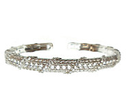 Judith Ripka Sterling Silver Diamonique & Textured Cuff - J339541