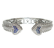 Judith Ripka Sterling Pave Blue Sapphire HeartCuff - J339941