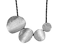 Sterling Textured Ovals Necklace by Or Paz - J340041
